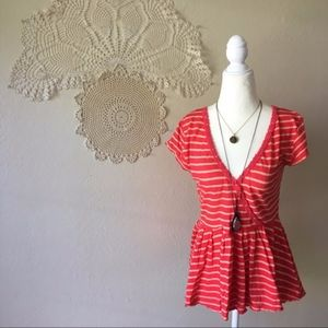 Free People red striped lace trim linen peplum top